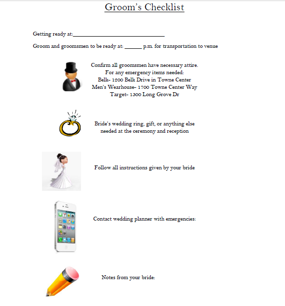 Wedding Planner: Wedding Planner Checklist For Groom